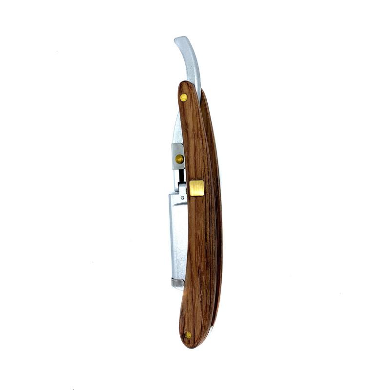 Опасная бритва с деревянной ручкой и серебристым металлом
